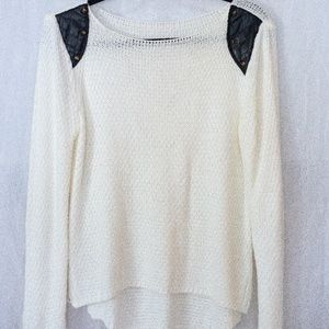 Tops - Cream Knit Sweater with Black Studded Details